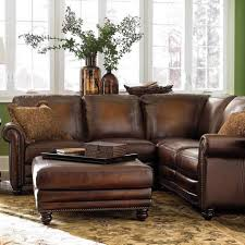 furniture brown leather sectional apartment size sofa with