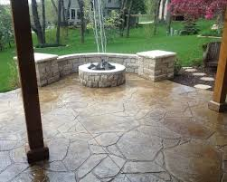 Decorative Concrete Pillars Traditional Stamped Concrete Patio Ideas With Traditional Round