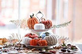 thanksgiving table decor 10 knitted pumpkins rustic knit