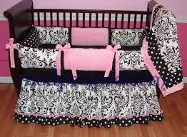 Girls Pink And Black Bedding by Delaney Pink And Black Baby Bedding Using Black Damask And