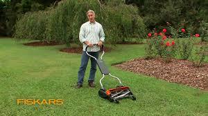 fiskars momentum the eco friendly push reel lawn mower youtube