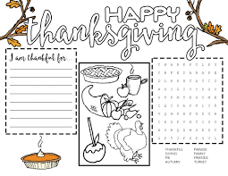 free printable thanksgiving placemat our handcrafted