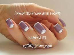 half moon french nail art with pearls design