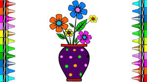how to draw flowers for kids coloring pages potted flower