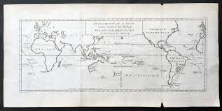Large Vintage World Map by 1771 Bouganville Large Antique World Map Global Route Of