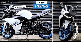 ds design ktm rc 200 white wrap with blue alloy wheels