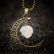 antique necklace chains images Vintage moon necklace irregular natural stone pendant necklaces jpg