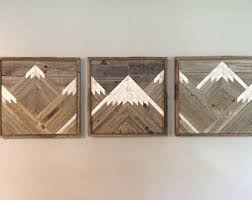 wood mountain wall stained mountain tops set of 3 reclaimed wood wall
