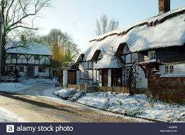 English Country Cottages English Country Cottages In The Snow Micheldever Hants England Uk