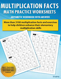 multiplication facts math worksheet practice arithmetic workbook