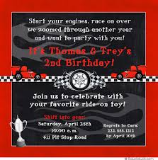 race car brothers party invitation checkered flags fun