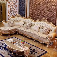 upscale living room furniture luxury chagne leather corner sofa wood carving upscale living
