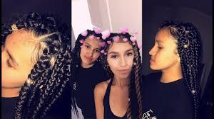 hair braiding got hispanucs box braids on my mexican sister s 3b curly hair youtube