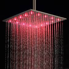 16 inch ceiling mount square rainfall led shower head stainless