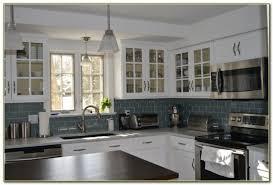 Blue Glass Kitchen Backsplash Blue Subway Tile Kitchen Backsplash Tiles Home Decorating