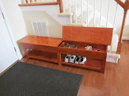 Wooden Storage Bench Seat Plans by Furniture Black Wooden Pull Out Shoe Storage Bench Combined With