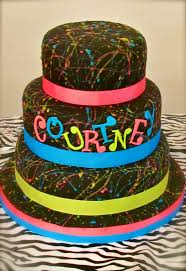 1980s theme party ideas fun neon cake for 80 u0027s themed party