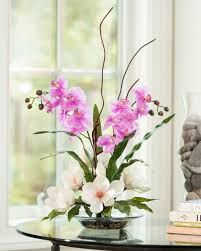 floral arrangements magnolias orchids silk flower arrangement office and home decor