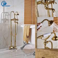 montaggio vasca da bagno doppia croce maniglia colore dorato free standing montaggio vasca