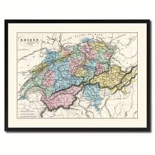 switzerland vintage antique map wall art home decor gift ideas