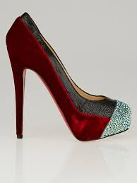 christian louboutin red velvet black ostrich and strass crystal