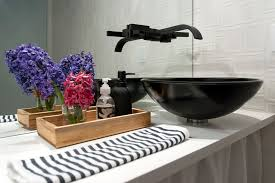 black vessel sink faucet glass vessel sinks in bathroom contemporary with black wall next to