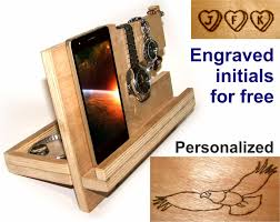 Charging Station Nightstand by Docking Station Wood Men Wooden Charging Station Phone Stand