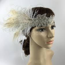 1920 hair accessories fashion diamante rhinestone feather headband flapper fancy dress