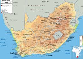 Map Of Cape Town South Africa by Large Detailed Physical Map Of South Africa With All Cities Roads
