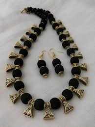 black necklace sets images Black silk thread necklace and earrings jewelry set handmade jpg
