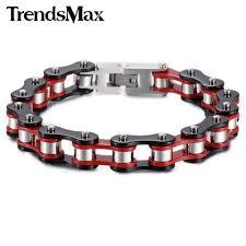 metal chain link bracelet images Men 39 s biker style chain link bracelets red yellow black silver jpg