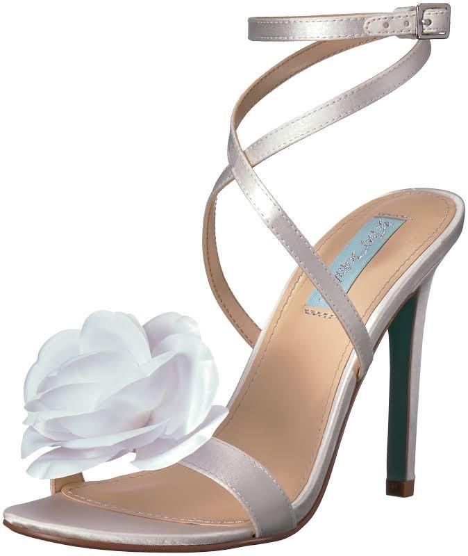 Betsey Johnson Sb-Terra Ivory Satin Ankle Strap Heels