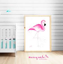 flamingo original watercolor hand made home decor gift baby art