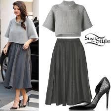 selena gomez sweater selena gomez crop sweater wool skirt style