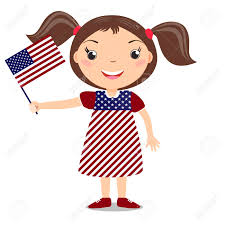 Holding The Flag Smiling Child Holding A American Flag Isolated On White