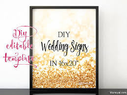 wedding signs template 16x20 diy printable sign template for word make your own gold