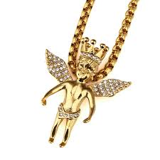aliexpress buy nyuk new fashion american style gold new style gold iced out crown angel baby pendants hip hop charm
