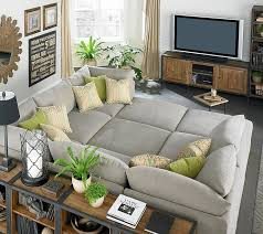 Gray Sectional Sofa For Sale by Huge Gray Bassett Beckham Pit Sectional Sofa Green Pillows