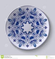 blue decorative ornament pattern is applied on a ceramic plate