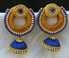 jhumka earring silk thread chandbali jhumka earring at rs 350 pair soumya