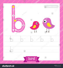 letter b lowercase tracing practice worksheet stock vector