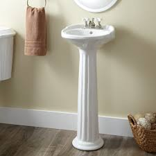 Paint Laminate Floor Cream Wall Paint Washbasin With Pedestal Round Mirror With Frame