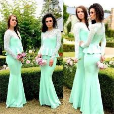 bridesmaid dress 2017 mint mermaid sleeves new design custom bridesmaid