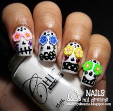 nails my dreams hpb october halloween mani link up sugar skulls