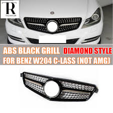 diamond benz w204 black abs diamond style front bumper grill grille for