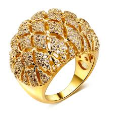 bridal gold ring plated big engagement ring for women cz diamond bridal wedding