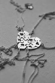Personalized Sterling Silver Necklace Personalized Sterling Silver Heart Shape Jigsaw Puzzle Charms