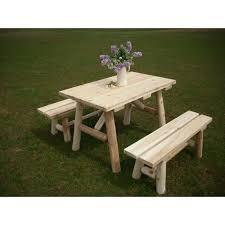 white cedar log picnic tables