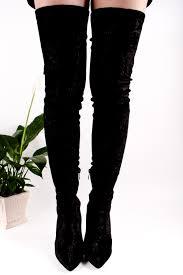 s knee boots on sale black velvet multi flower print point toe side zipper the