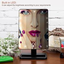 Rialto Mirrors Lighted by Touch Screen Makeup Mirror 20 Leds Lighted Stand Cosmetic Mirror